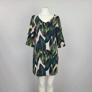 Belangsci Green Tropical Print Ruffle Sleeve Dress Size S